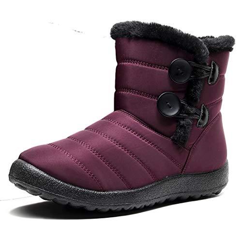 Rokiemen damskie zimowe buty śnieżne wodoodporne futrzane ciepłe botki płaskie wsuwane na zewnątrz antypoślizgowe buty do chodzenia