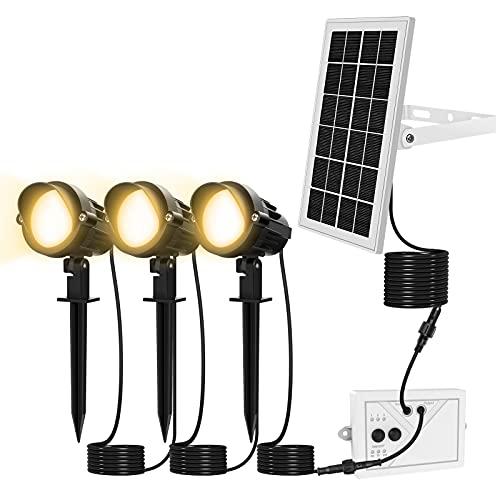 MEIKEE Luz Solar Exterior, 3 en 1 Foco Solar para Jardín IP66 Impermeable 3 Colores y 2 Brillo Lámpara Solar Iluminación al Aire Libre Encendido Apagado Automático Cable de 10M