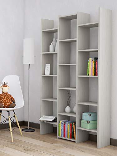 Homemania Libreria, Truciolare Melaminico, Plastica, Ferro, Rovere Ghiaccio