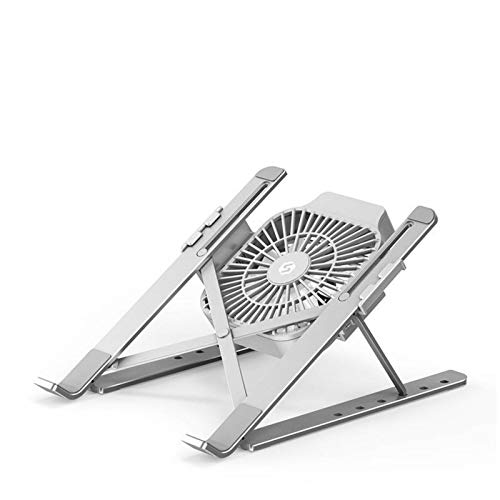 DLQX Portable Laptop Stand, 6 Height-Adjustable Aluminum Alloy Laptop Stand, Laptop Stand with Cooling Fan, for 11-17 Inch Laptop and Tablet Stand(Color:Silver)