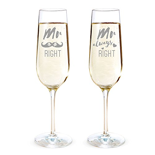 AMAVEL 2er Set Sektgläser mit Gravur, Mr Right & Mr Always Right, gleichgeschlechtliches Hochzeitspaar, Schnurrbart