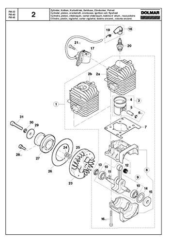 Motorblok 40 ccm, origineel onderdeel voor Dolmar FM-33, FM-40 en FM-45