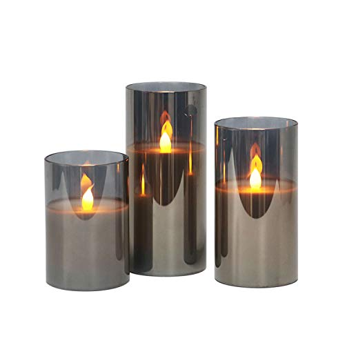 Rhytsing Grau flammenlose Kerzen im Glas, 3 Glaswindlichter mit 24 Stunden Timer, warmweiße Licht mit Batterien enthalten
