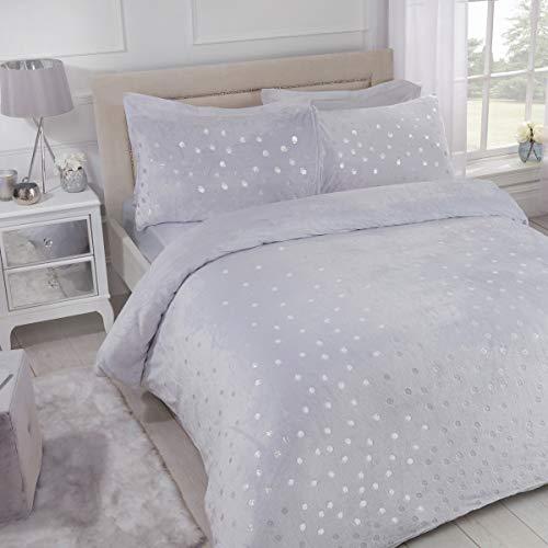 Sleepdown 5056242741244 Ropa de Cama de Forro Polar con diseño de Lunares, Color Gris, Juego edredón y Fundas de Almohada, Matrimonio