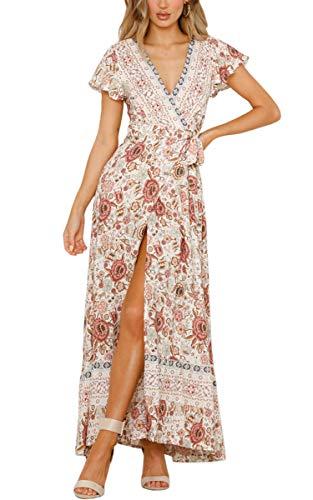 ECOWISH Damen Kleider Boho Sommerkleid V-Ausschnitt Maxikleid Kurzarm Strandkleid Lang mit Schlitz Beige XL