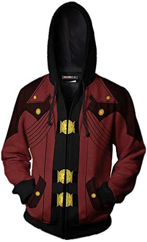 MAOMAO Herren Hoodies Langarm Zip Hooded Lässige Boy Sweater Für Devil-May-Cry 3D Print Cosplay Jacke Sweatshirts Top Cardigan,A1-XXXL