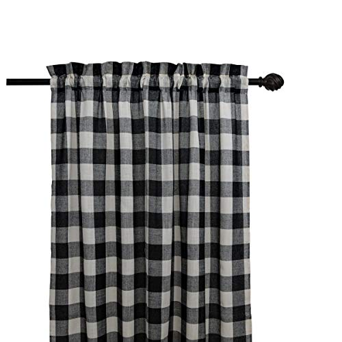 Creativesfun Farmhouse Light-Filtering Rod Pocket Buffalo Check Plaid Gingham Window Curtain Treatments (Black & White, Panel 丨W53 X L108-INCH )