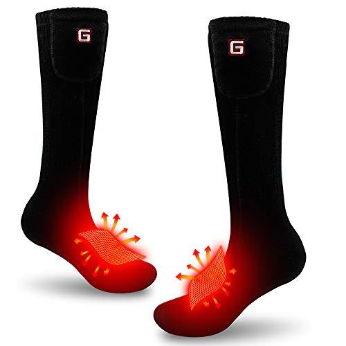 MMlove Rechargeable Battery Heated Socks Electric Heated Socks Hiking Warming Socks (4000mAh Black-Large(Heat up 12H)