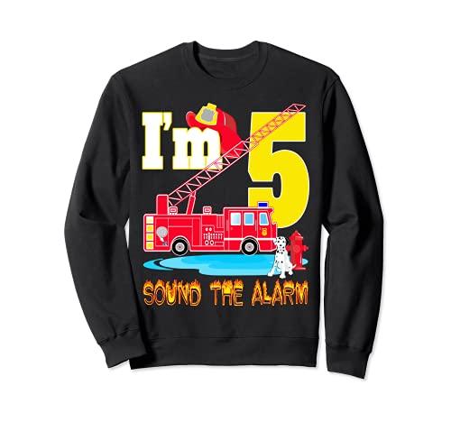 I'm 5 Sound The Alarm camión de bomberos juguete regalo fiesta de cumpleaños niño Sudadera