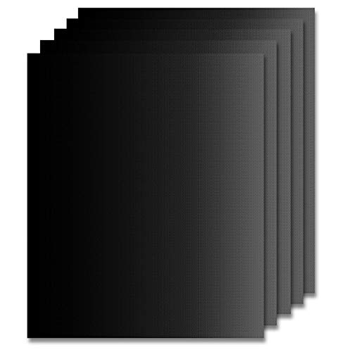 Gyvazla Estera para Parrilla de Barbacoa, 5 Piezas Láminas Antiadherentes láminas Resistentes al Calor para Horno, Grill, Parrilla y Barbacoa 15.8''x13' (Negro)