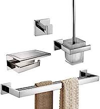 Bathroom Accessory Set,Bathroom Shelf Toilet Brush Holder Contemporary Stainless Steel 4pcs - Bathroom Wall