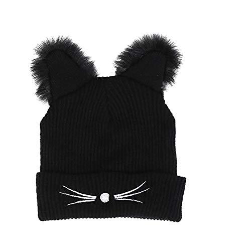 LAANCOO Las Mujeres hicieron Punto los Sombreros del oído del Gato Lindo del Ganchillo Trenzado Invierno chambergo Beanie Hat para la Mujer