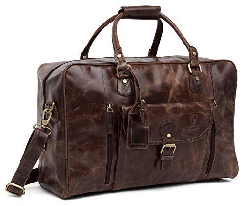 Designer J WILSON London Large Distressed Leather Bag Weekend Holdall Luggage Sports Travel Gym Vintage Carrier Cabin Duffel (Tan) (Distressed Brown)