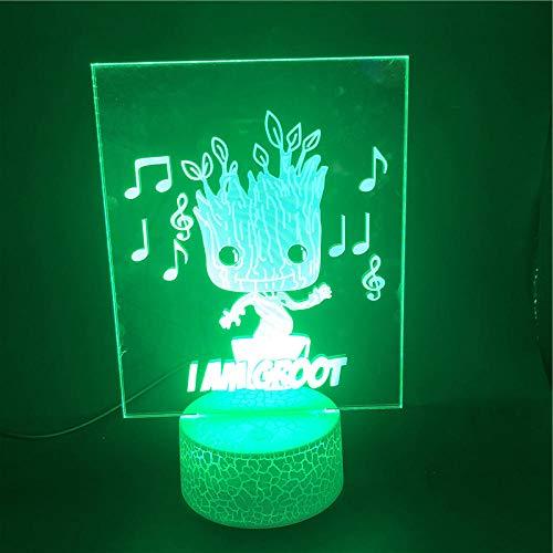 3D-Illusionslampe Führte Nachtlicht Groot Singt Und Tanzt Die Atmosphäre Bestes Geschenk Für Dekoration Batteriebetriebener Usb