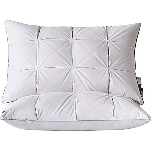 CCAN Almohada para columna cervical de plumón de ganso blanco, núcleo de almohada de pan casero de doble capa, puede ayudar a dormir, almohadilla ergonómica de soporte para el cuello, adecuada para la