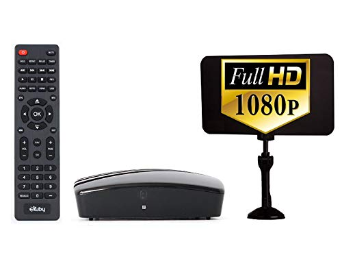 eXuby Digital Converter Box for TV + Antenna Bundle to View and Record Over the Air HD Channels for Free (Instant or Scheduled Recording, 1080P HDTV, High Resolution, HDMI Output, 7 Day Program Guide)