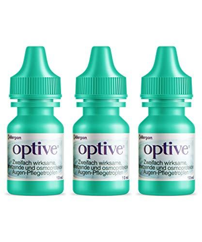 Allergan Optive® Augentropfen gegen trockene Augen | 3 x 10 ml Augentropfen Kontaktlinsen geeignet | Für Bildschirmtätigkeit & Reisetätigkeiten