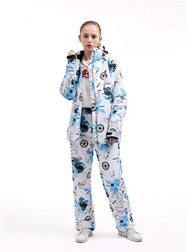 YIEBAI Weibliche wasserdichte Winddichte Damen Skianzug Jacke und Hose Wanderanzug Snowboard Kleidung Schneekostüme Outdoor Wear,Blue Flowers,M