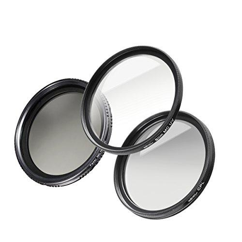 Walimex Pro Filter Starter Komplett-Set (Durchmesser 55mm, MC inkl. Polfilter, UV Filter und ND Fader Graufilter)