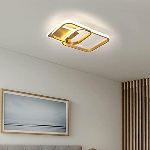 Plafón LED, anillo cuadrado de oro, regulable, diseño moderno, con mando a distancia, para dormitorio, oficina, salón, cocina, sala de exposición, 50 W, 92 W (mediano)