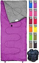 Lightweight Violet/Purple Sleeping Bag by RevalCamp. Indoor & Outdoor use. Great for Kids, Youth & Adults. Ultralight and Compact Bags are Perfect for Hiking, Backpacking, Camping & Travel.