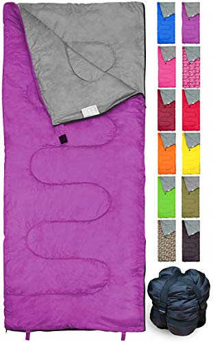 REVALCAMP Violett Schlafsack für Drinnen und Draußen. Toll für Kinder, Jungen, Mädchen, Jugendliche, Erwachsene. Kompakte Schlafsäcke sind ideal zum Wandern und Camping.