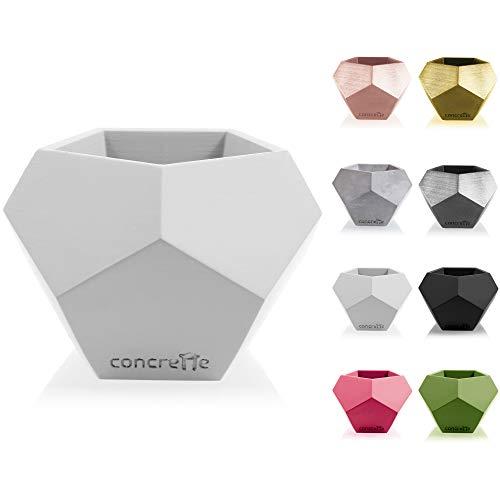 CONCRETTE Macetero de Cemento, Maceta de hormigón Cuadrado geométrico, diámetro de 9 cm, diámetro de 12 cm, 17 Colores
