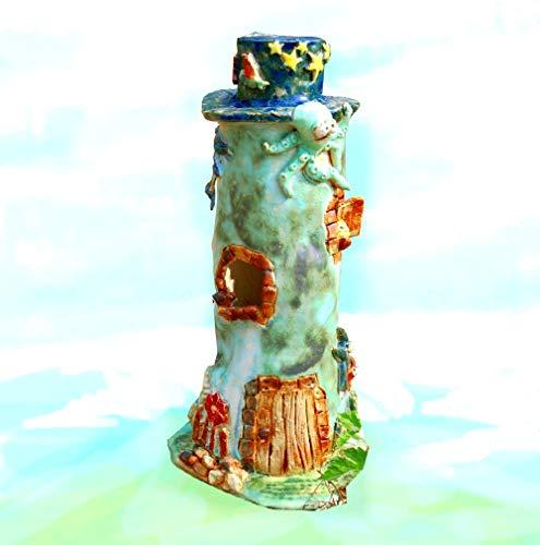 Keramunzel großer Leuchtturm mit vielen Bewohnern Teelicht - Keramik zum Schmunzeln frech und wunderschön Manufaktur bien-Art