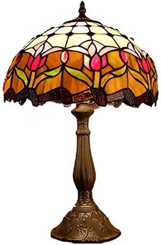 AWCVB Tabla 12 Pulgadas Lado Tiffany Lámpara De Escritorio De La Vendimia De Color Luces Nocturnas De Vidrio Sala De Estilo Pastoral Que Viven