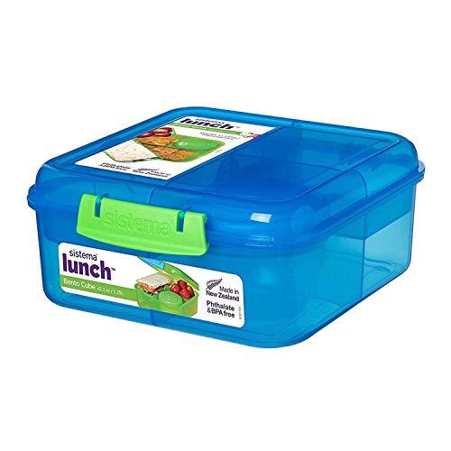 Sistema Lunch Bento Cube mit Fruit/Joghurt Topf, mehrfarbig, 1,25 Liter (Sortiert, Zufallsfarbe)