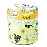 Aladine - Stampo Scrap - Kit de Tampons pour Carterie Créative - Scrap, DIY, loisirs créatifs - Set de tampons à emporter partout + Encreur Noir Inclus (JUNGLE)