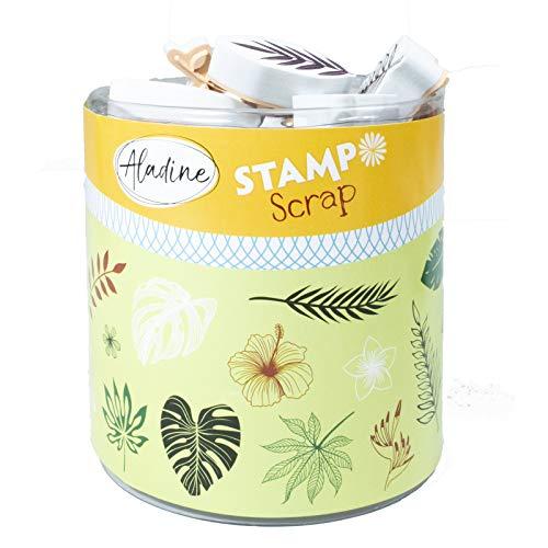 Aladine Stampo Scrap Stempel-Set für kreative Karten, Scrapbooking, DIY, Basteln, Stempel, Stempel, zum Mitnehmen, inkl. Stempelkissen (schwarz) 4550319