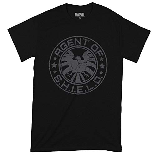 Compatible with Marvel Avengers Shield Beaten Circle Oficial Camiseta para Hombre (Small)
