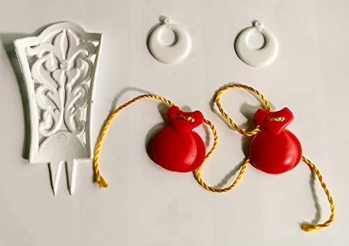 Folk Artesanía Complementos Flamenca peineta, Pendientes y castañuelas para muñeca