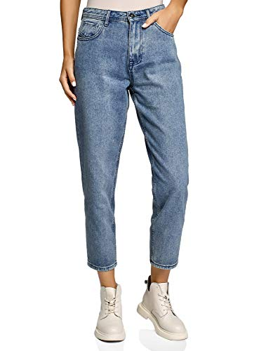 oodji Ultra Damen Jeans Mom Fit, Blau, 29W / 32L (DE40 = EU42 = L)