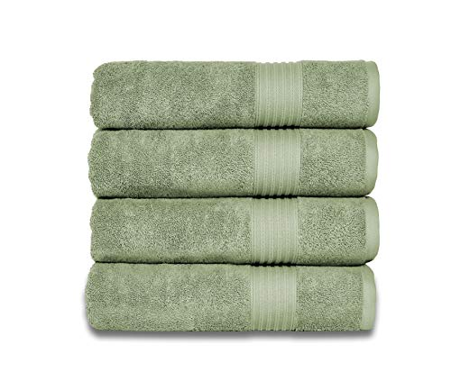 Peshkul Turkish Bathroom Towels, Best Bath Towel Sets Spa & Luxury Hotel & Gym | 100% Turkish Cotton 27x54 |Set of 4 Soft Bath Towels for Bathrooms |Super Absorbent |(Sage Green)