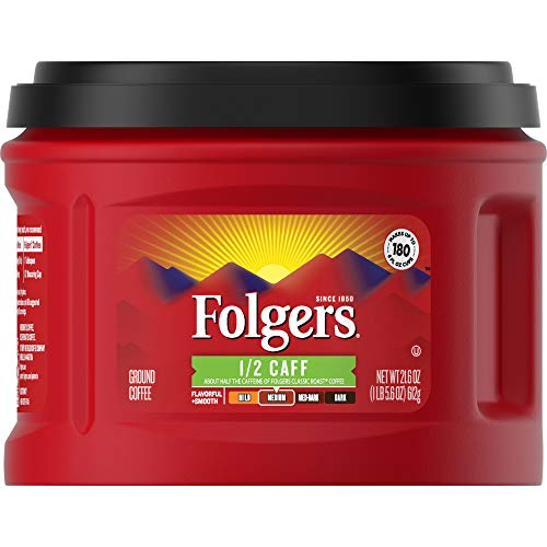 Folgers 1/2 Caff Half Caffeinated Medium Roast Ground Coffee, 21.6 Ounces (Pack of 3)