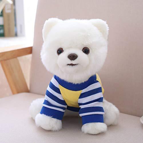wwwl Juguete de Peluche Adorable Perro De Peluche Juguetes Pura Camiseta De Rayas Azules Blancas Vestida Pomerania Perrito De Peluche Animales Mascotas Juguetes 25 Cm Regalo para Niños Pequeños