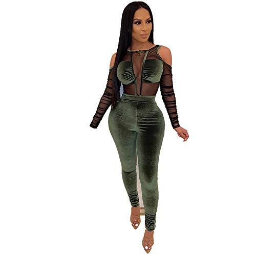 SeqSh Womens Mesh Velvet Jumpsuit Clubwear Langarm Rundhals Durchsichtig Bodycon Club Strampler,Grün,L