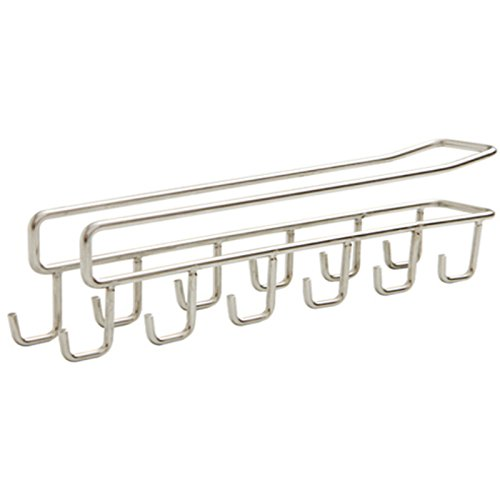 KINGZHUO Stainless Steel Under Cabinet Shelf 12 Mug Cups Rack Metal Holder Hanging Organizer Necktie Bag Hat Hanging Rack