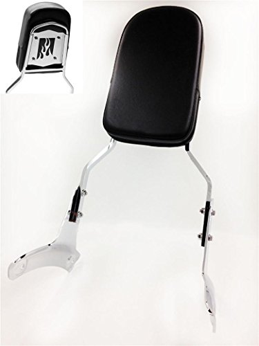 HTTMT MT137-F Motorcycle Chrome Flame Fire Backrest Sissy Bar Compatible with 1997-2003 Honda Shadow ACE 750 VT750/ 1997-2003 Honda Shadow ACE 400 VT400