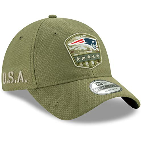 New Era New England Patriots 9twenty Adjustable Cap On Field 2019 Salute to Service Olive - One-Size