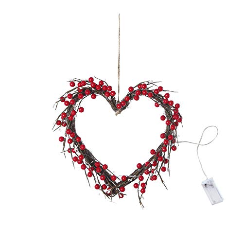 BOKAPA Valentines Day Glowing Heart-shaped Wreath 16inch with 20 LEDs Red Berry Wedding Garland 3 AA batteries charged for Front Door Hanging Wall Decorations Valentines Outdoor DIY Crafts