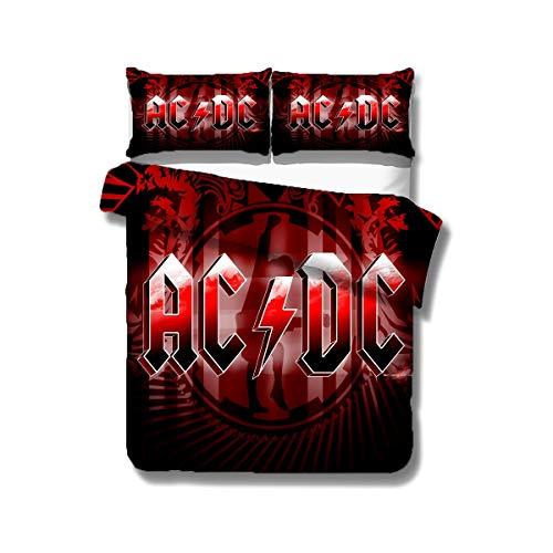 RITIOA Bettwäsche 155x220cm,ACDC Bettwäsche Set, Rockband Bettbezug und Kissenbezug, Mikrofaser,3D-Digitaldruck Motiv AC/DC Angus Young,Stevie Young,Chris Slade,Axl Rose(#01)
