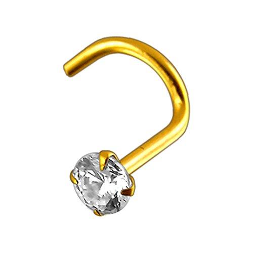 18 Karat Solide Gelbes Gold Klaue Set 2,5 MM Runde CZ Stein Top 20 Gauge Nasenloch Nase Schraube Piercing Schmuck
