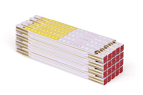 Metrie™ PERFEKT 5 Zollstock/Zollstöcke - Gliedermaßstab | Maßstab - 1m - Weiß/Gelb - Duplex Teilung, Hergestellt in der EU - 20 stück