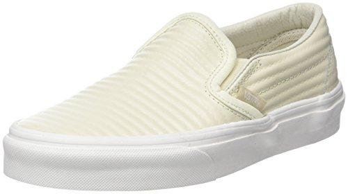 Vans Classic Slip-On, Womens Trainers, Off-White(Birch/Blanc De Blanc(Moto Leather)), 5 (38 EU)