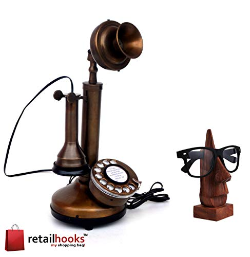 retailhooks Vintage Antique Candlestick Rotary Dial Phone Vintage Brass Antique Finish Table Decorative Telephone with Free Sunglasses Holder Or Wooden Spec Holder
