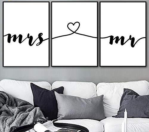 Tanyang 3 Piezas Mr Mrs Love Prints Boda Arte de la Pared Pintura en Lienzo Nordic Posters and Prints Wall Pictures For Living Room No Frame