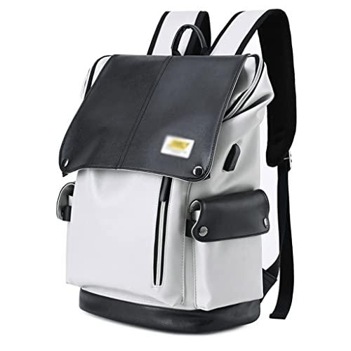 WQXD Tela de Oxford USB Mochila 15.6 Pulgadas Laptop Laptop Bookbag Largo Capacidad Mochila Casual College Fin de Semana Viajes Unisex Daypack (Color : Light Gray, tamaño : One Size)